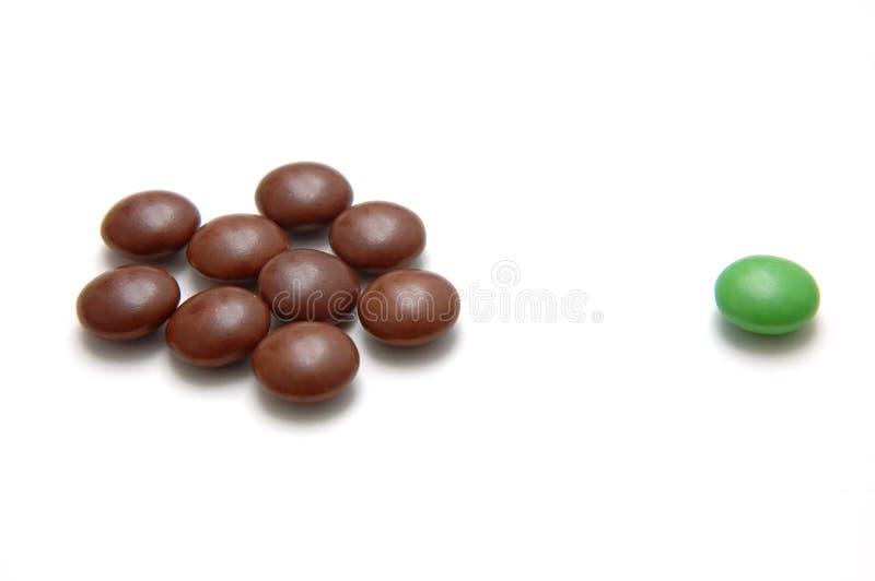 chocoutcast för 4 bönor arkivbild