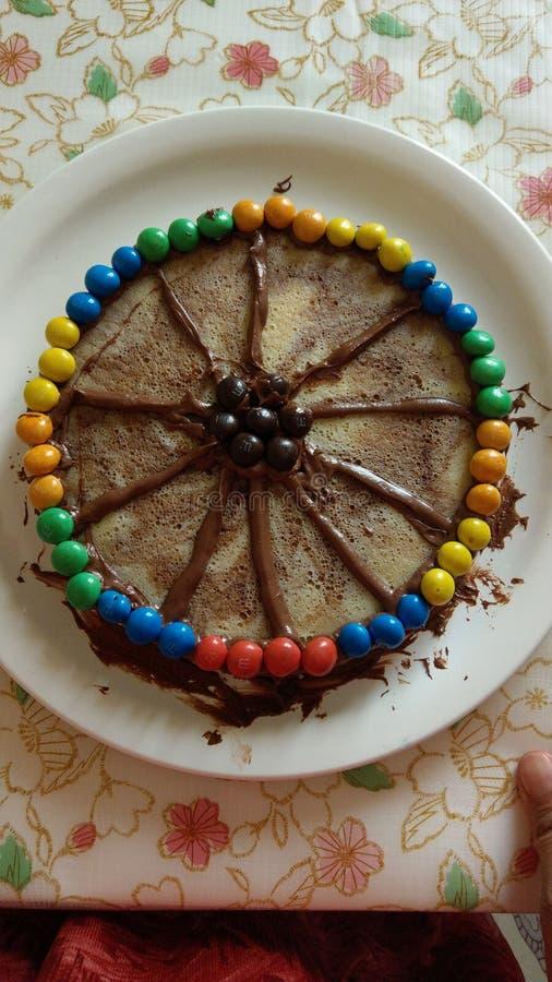 Chocovanilla cake stock photography