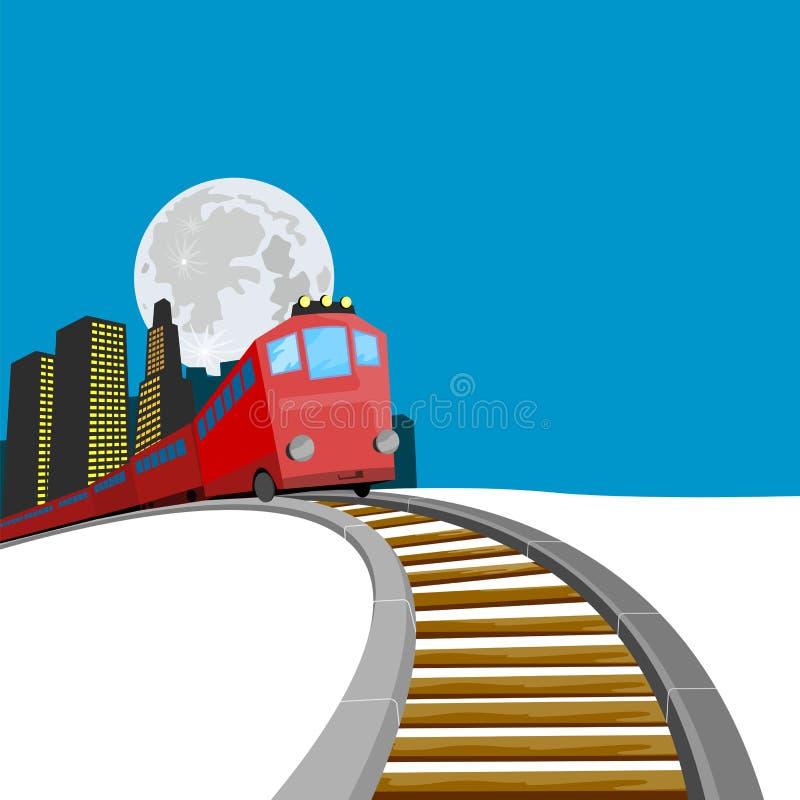 chodź pociąg do budynków royalty ilustracja