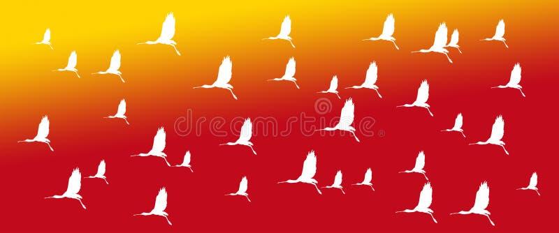 Chodnikowa tła ptaków Eurazjatyccy Spoonbills na Żółtym Pomarańczowym tle royalty ilustracja