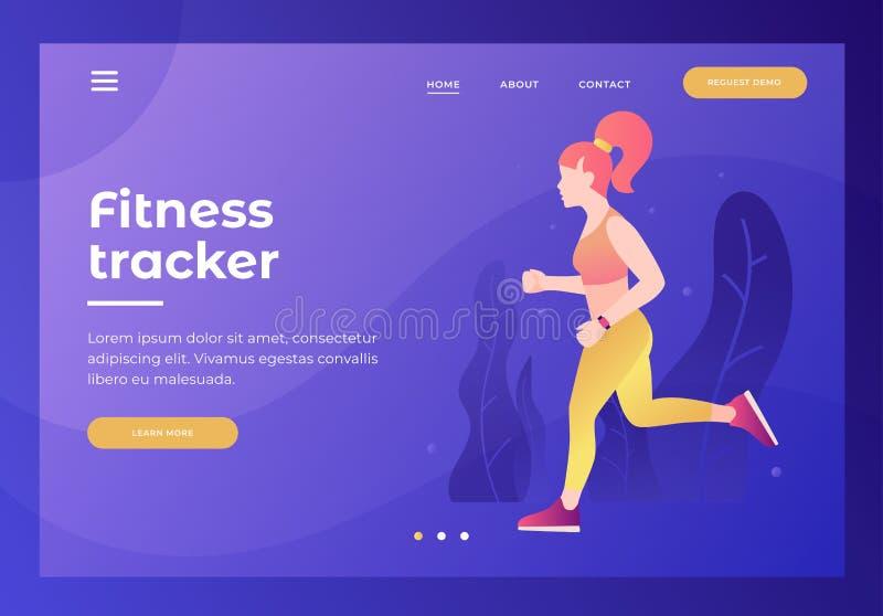 Chodnikowiec dla strony internetowej z obrazkiem sportowa dziewczyna na bieg z tropicielem Cardio ćwiczenia ilustracja wektor