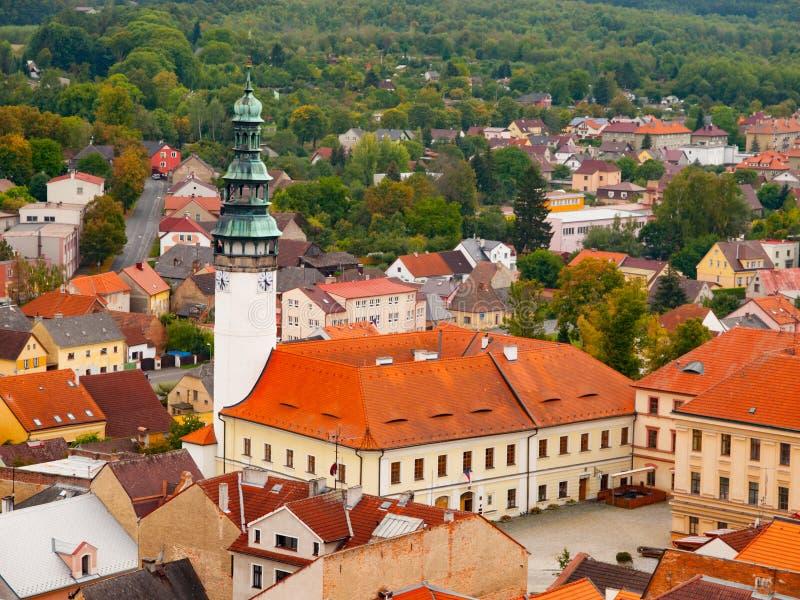 Chodsky城堡鸟瞰图在Domazlice 库存图片