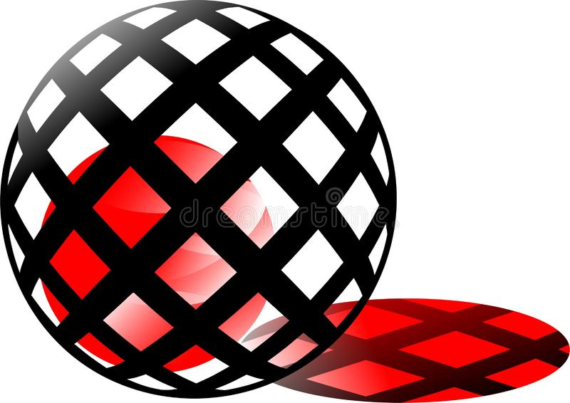 Chodząca czerwona piłka, czerwony światło słoneczne w klatce, jak czerwony ogień, czarnych pudełek round projekt wspaniała 3d sku ilustracja wektor
