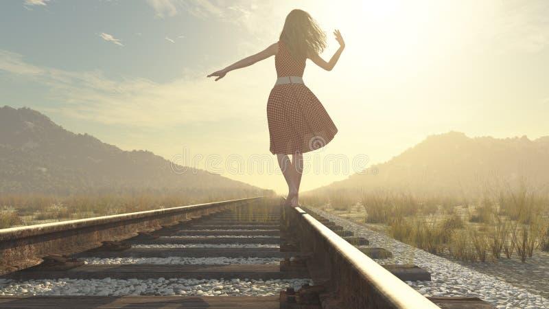 Chodząca dziewczyna na kolei ilustracji