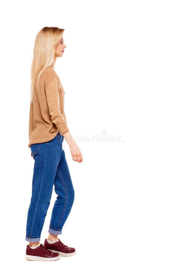 Chodząca kobieta boczny widok obrazy royalty free
