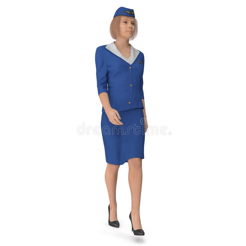 Chodząca stewardesa Ubierająca W błękita mundurze 3d ilustracja odizolowywająca na białym tle ilustracji