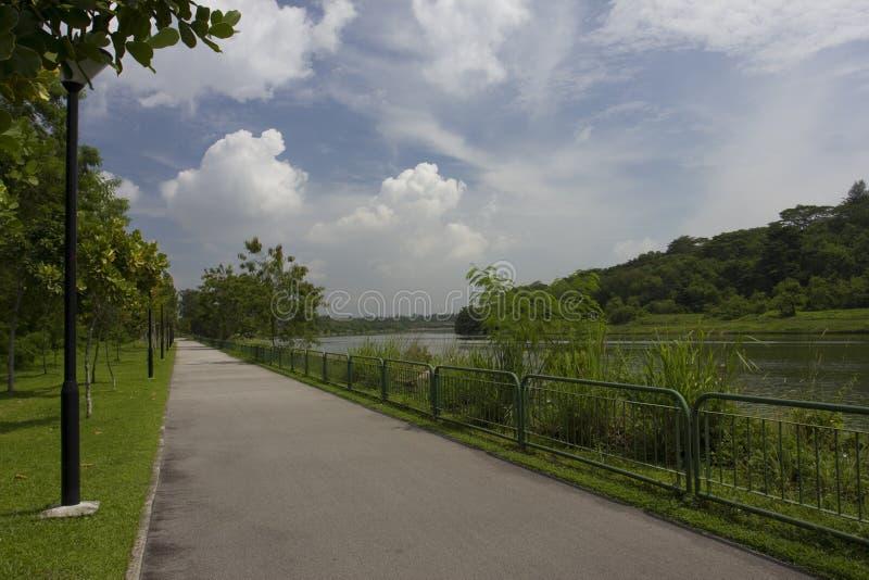 Chodzący ścieżkę i jeździć na rowerze rzeką zdjęcie royalty free
