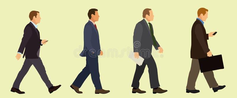 Chodzący biznesmeni w kostiumach ilustracji