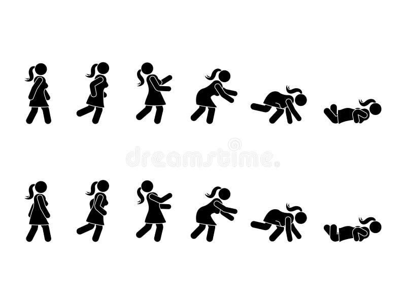 Chodzący kobieta kija postaci piktograma set Różne pozycje ono potyka się i spada ikona symbolu ustalona postura na bielu ilustracji