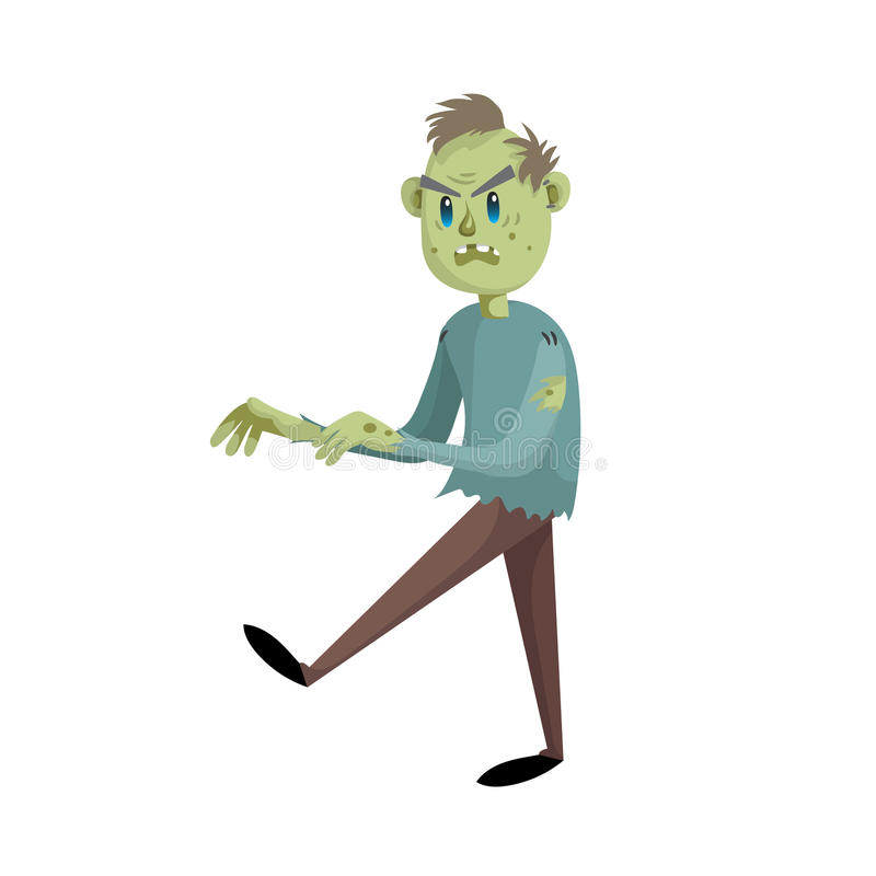 Chodzący kreskówka mężczyzna żywego trupu charakter ilustracja wektor