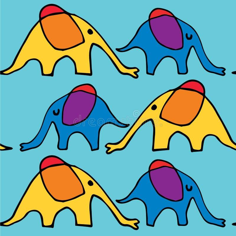 Chodzący kreskówka słonie ilustracja wektor