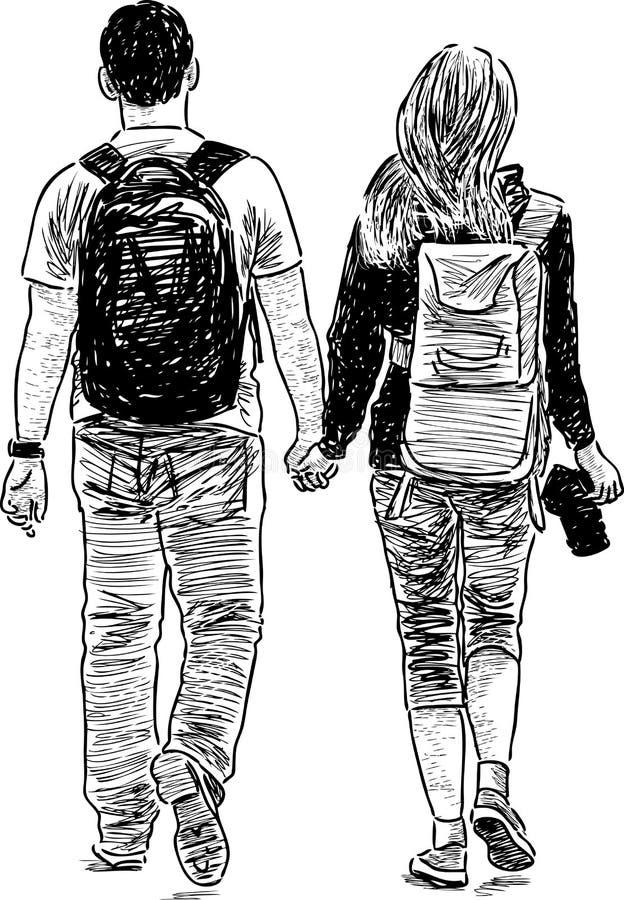 chodzący młodych par ilustracja wektor