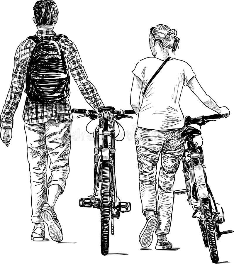 Chodzący młodzi ludzie z bicyklami royalty ilustracja