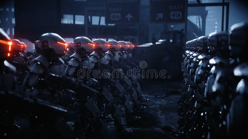 Chodzący militarni roboty Inwazja militarni roboty Dramatycznego apocalypse super realistyczny pojęcie przyszłość świadczenia 3 d royalty ilustracja