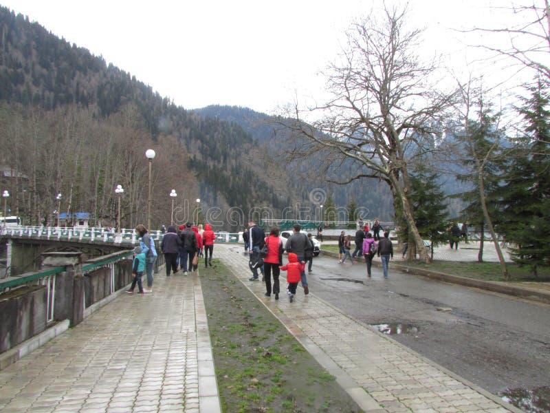 Chodzący teren dla turystów wokoło Jeziornego Riza, Abkhazia zdjęcie royalty free