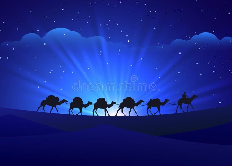 Chodzący wielbłądzi karawanowy nocy tło ilustracji