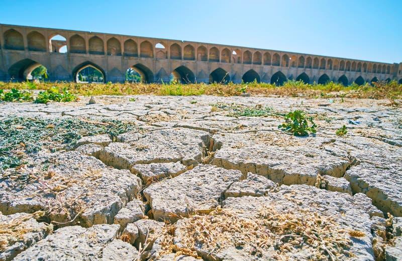 Chodzi wzdłuż Zayandeh rzecznego dna, Isfahan, Iran fotografia stock
