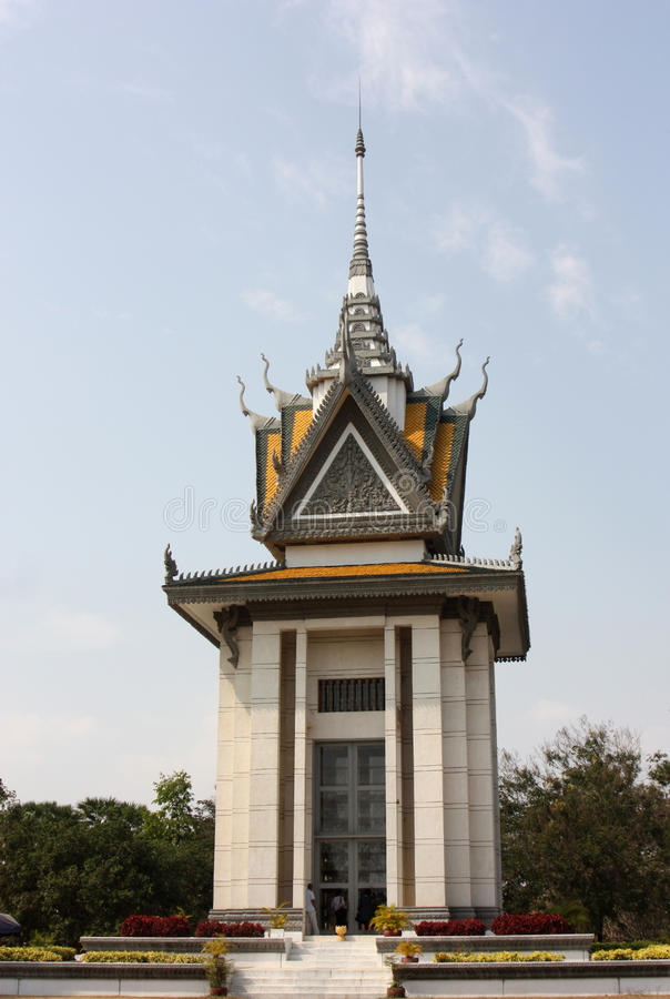 Choeung Ek Herdenkings Boeddhistische Stupa, Phenom Penh, Kambodja royalty-vrije stock afbeelding
