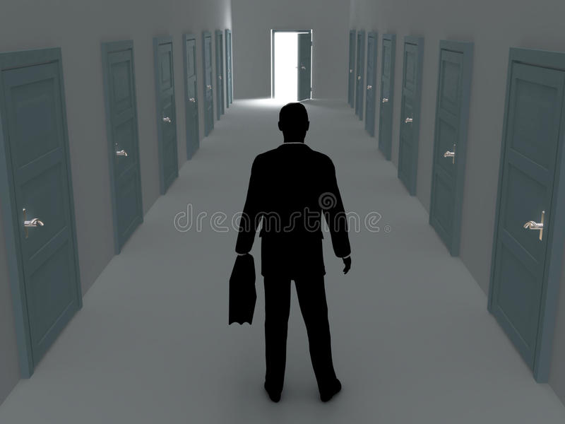 Choice. Silhouette of the man standing in front of some doors vector illustration