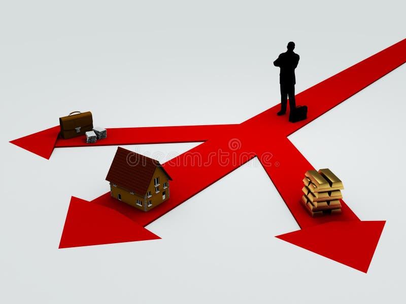 Choice. Invest dilemma, metaphora image on white background royalty free illustration