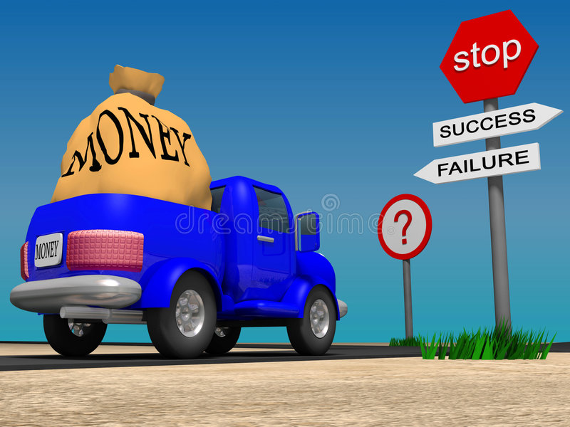 Choice. Lorry in front of crossroad, 3d image royalty free illustration