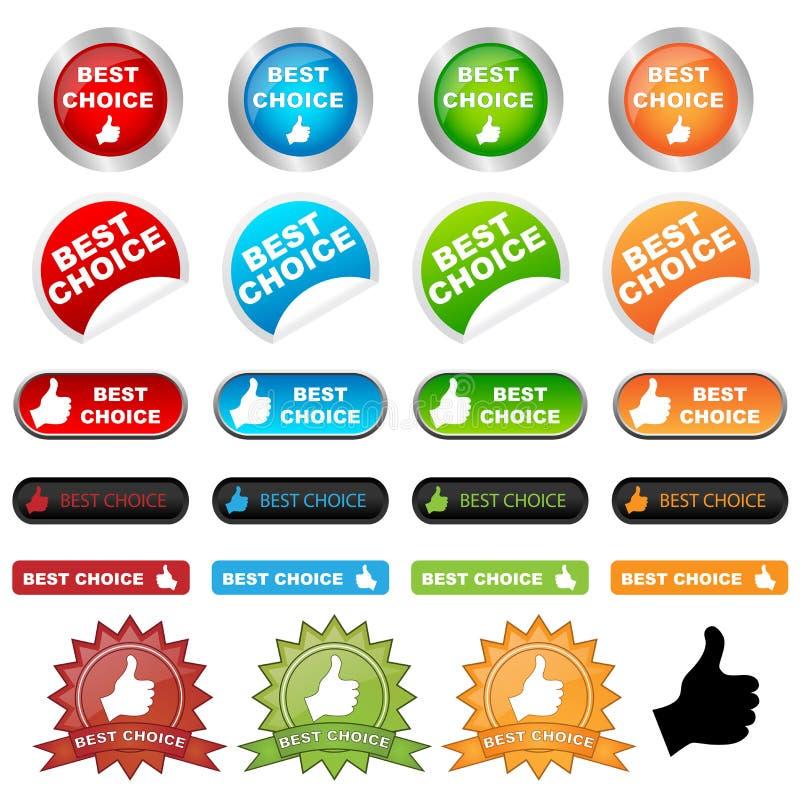 choice bäst knappar vektor illustrationer