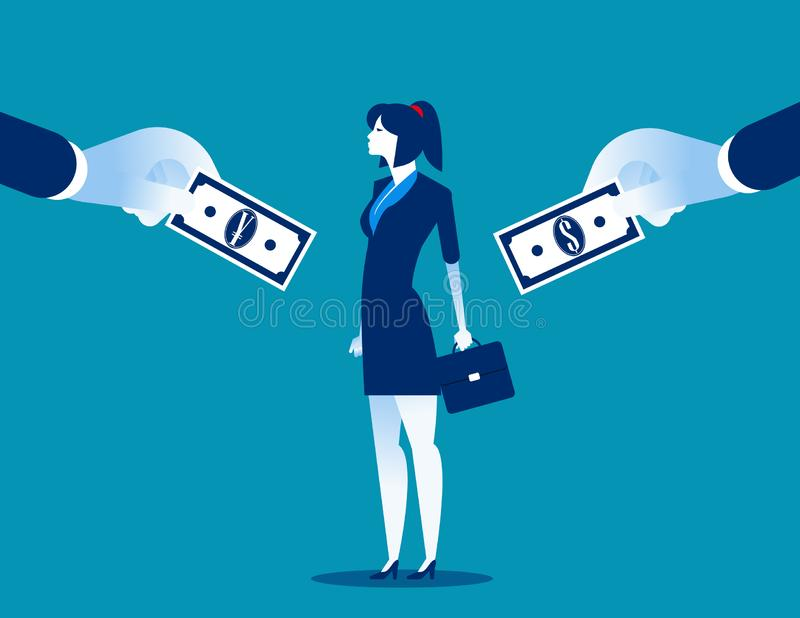 Choice. Businesswoman choice between currencies. Concept business vector illustration, currency, flat style, cartoon character royalty free illustration