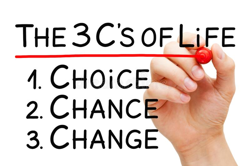 Choice Chance Change Better Life Concept stock image