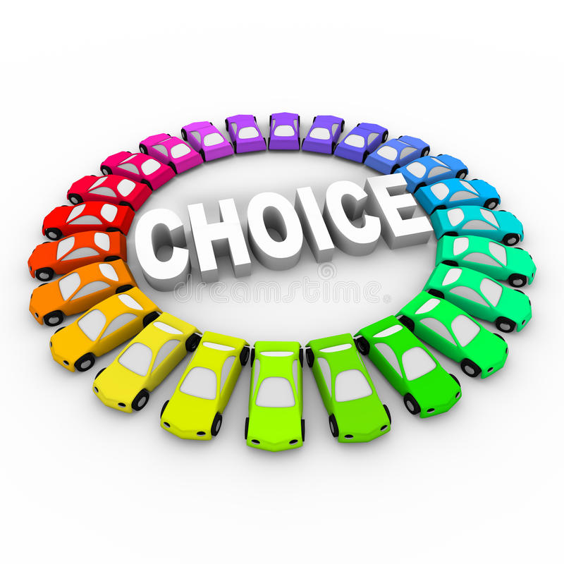 Choice - Colored Cars Around Word. Cars of many different colors in ring around the word Choice royalty free illustration