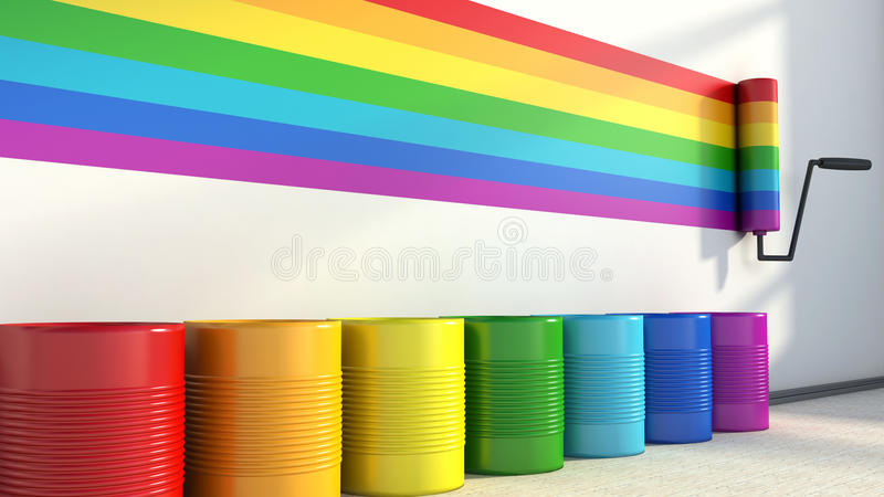 Choice of colors for painting a room. colors of the rainbow stock illustration