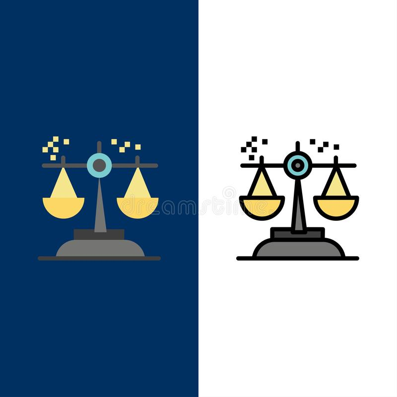 Choice, Conclusion, Court, Judgment, Law  Icons. Flat and Line Filled Icon Set Vector Blue Background stock illustration