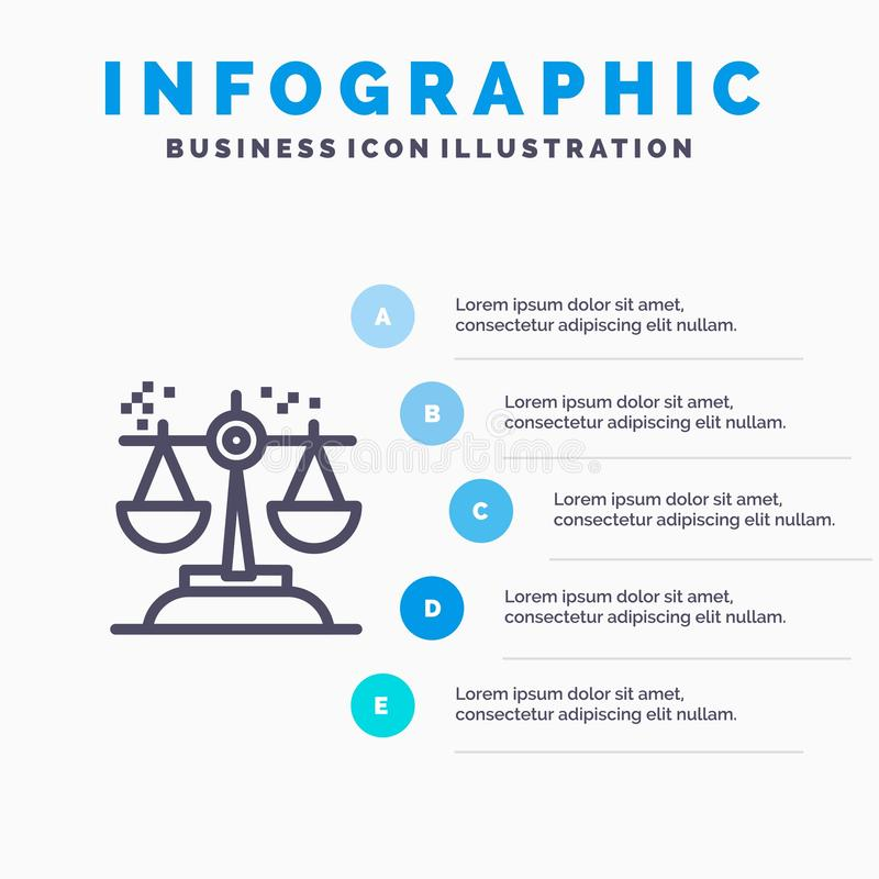 Choice, Conclusion, Court, Judgment, Law Line icon with 5 steps presentation infographics Background vector illustration