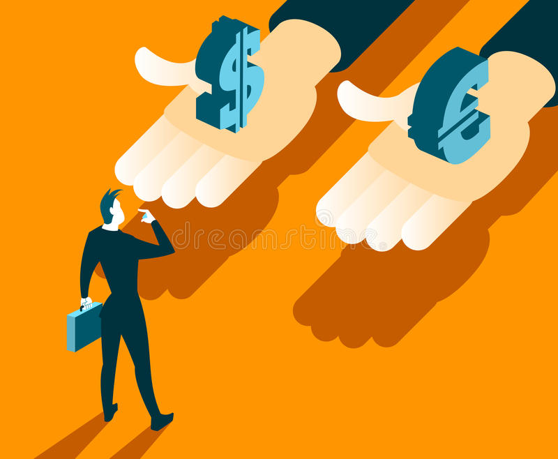 Choice between currencies. Business concept royalty free illustration
