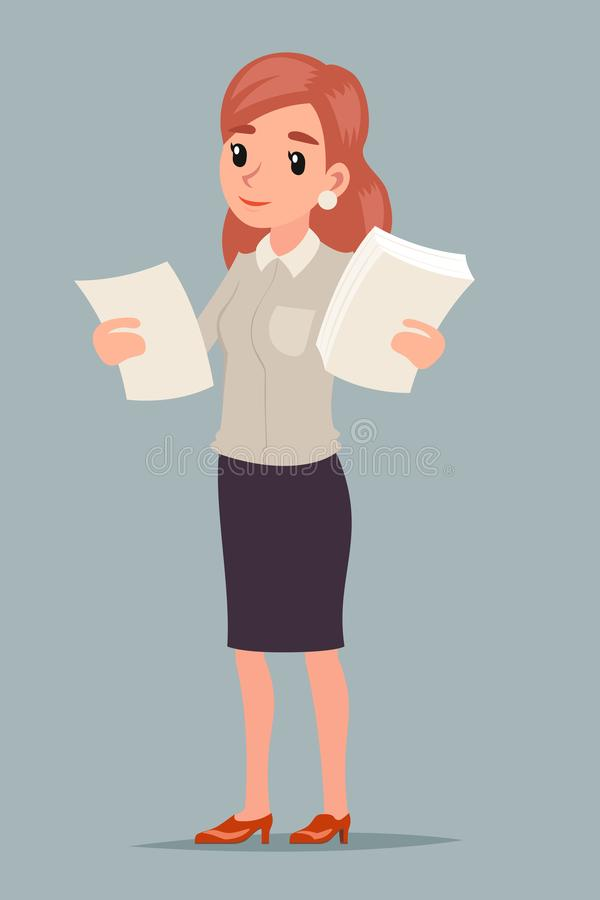 Choice decision making businesswoman hold contract statistics documents in hands female character retro cartoon design. Choice decision making businesswoman hold vector illustration