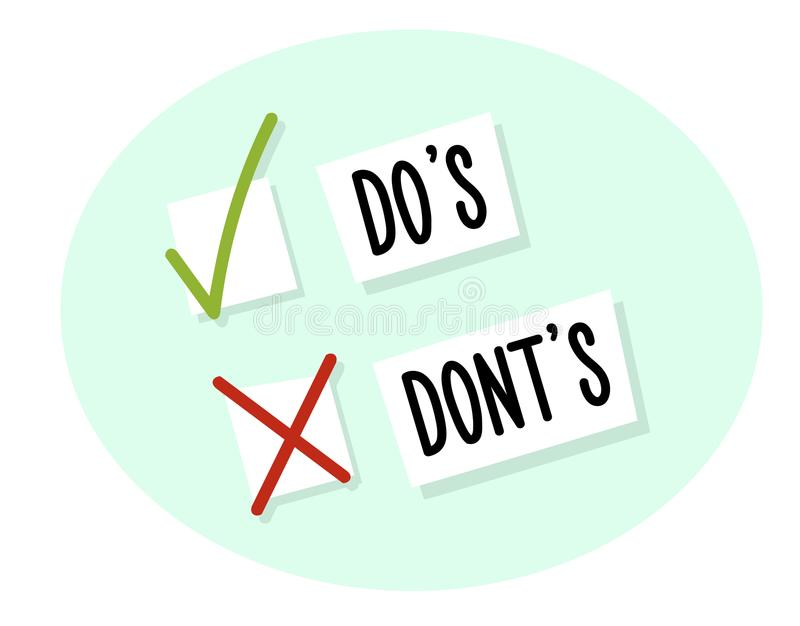 Choice between do`s and dont`s with checkboxes. With tick and cross. Vector illustration design royalty free illustration
