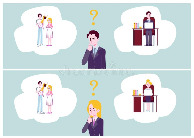 Choice between family responsibilities and career flat vector illustrations set. vector illustration