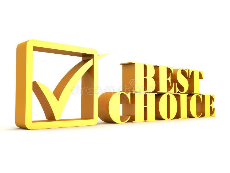 choice guld- text för bäst kontroll vektor illustrationer
