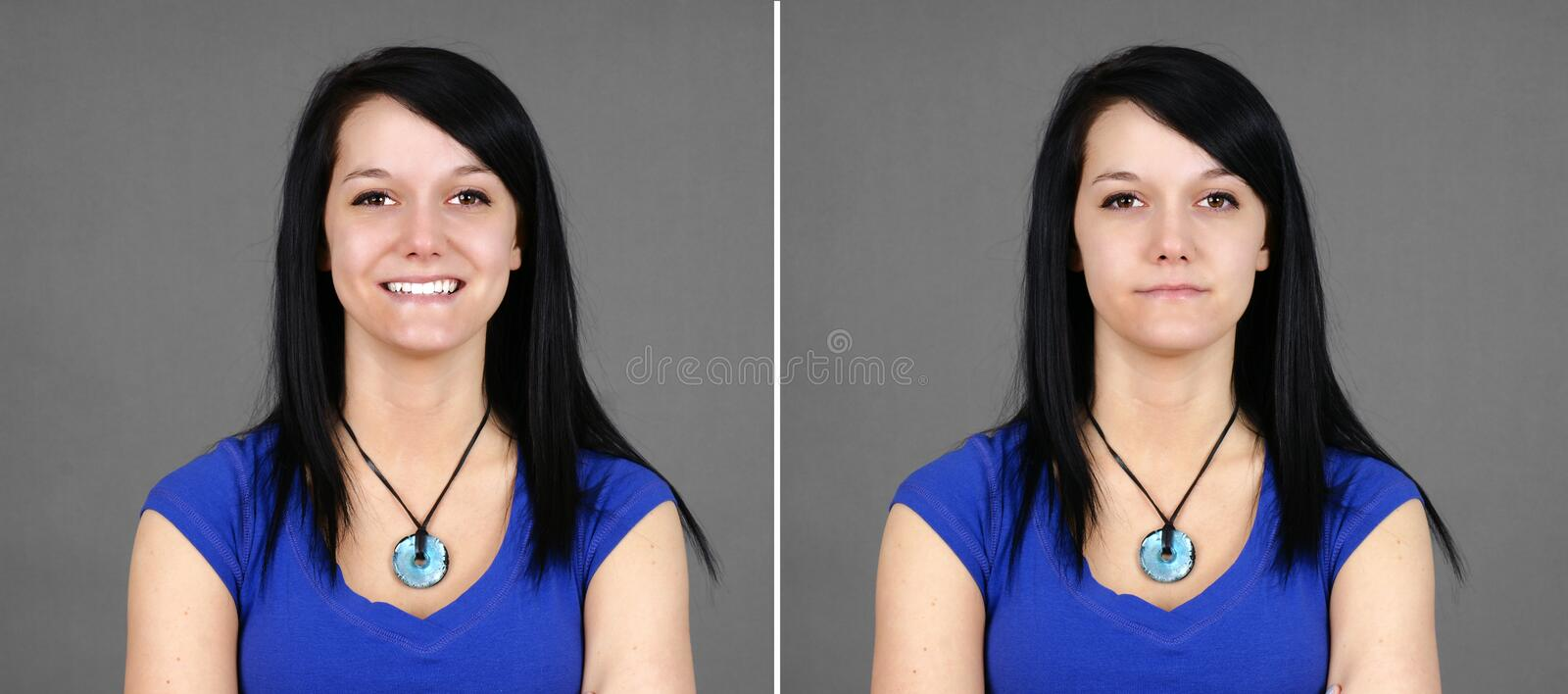 Choice of happy and neutral young woman portrait stock photo