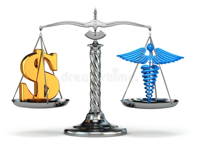 Choice health or money. Caduceus and dollar signs on scales. 3d stock illustration