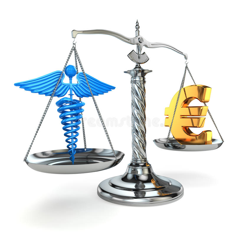 Choice health or money. Caduceus and euro signs on scales. 3d vector illustration