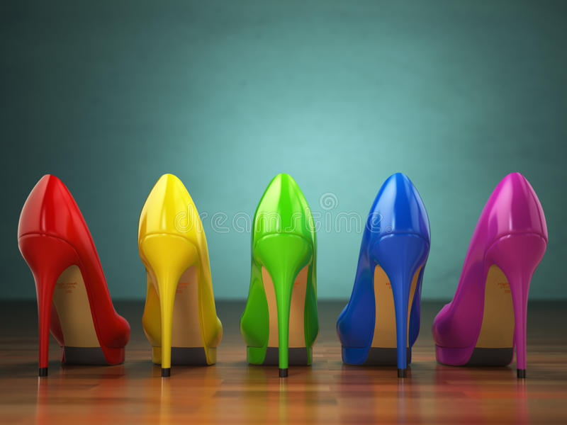 Choice of high heels shoes in different colors. Shopping concept royalty free illustration