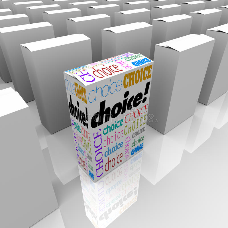 Choice - Many Boxes One is Different Alternative vector illustration