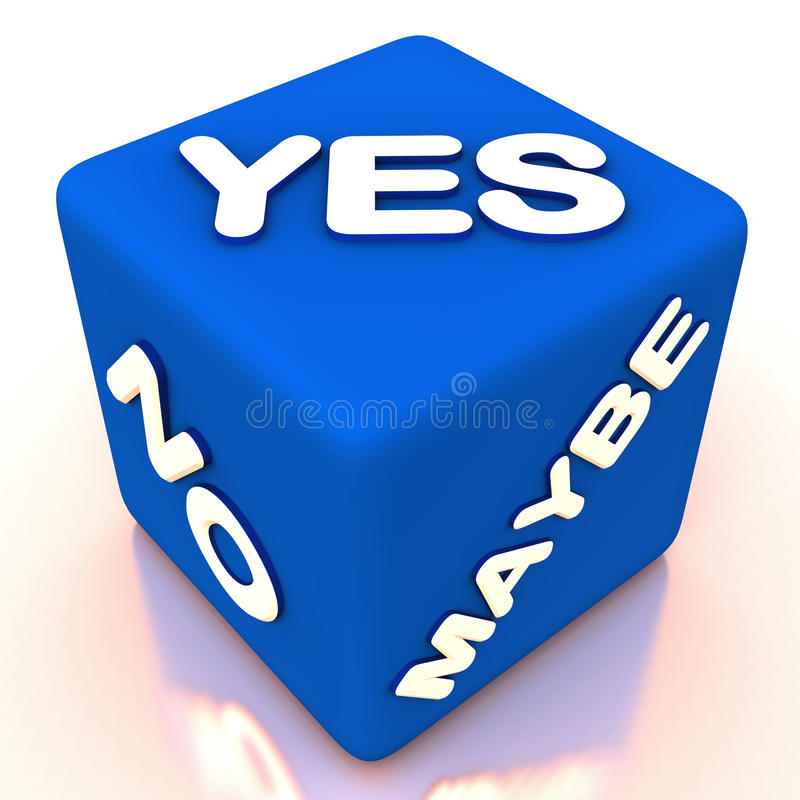 Choice options to decide. Choice of different options, dice with yes no and maybe showing the difficulty in choosing one amongst many vector illustration