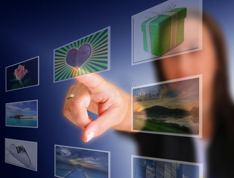 choice pekskärm fotografering för bildbyråer