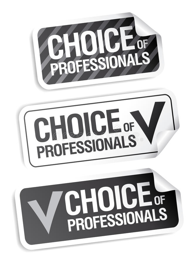 Choice of professionals stickers. vector illustration
