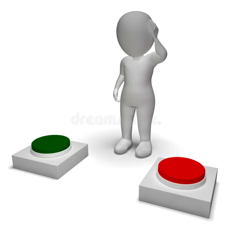 Choice Of Pushing Buttons 3d Character Shows Indecision stock illustration