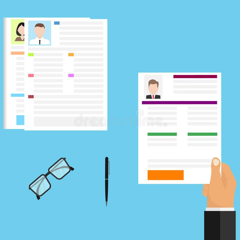 The choice of the resume, the businessman chooses the personnel. Choosing the right candidate for work. vector illustration