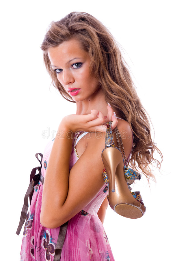 The choice of shoes is very difficultly. stock photos