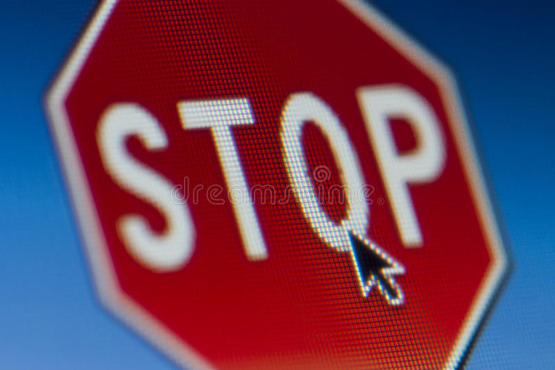 Stop Sign. A mouse pointer chooses the stop sign royalty free stock images