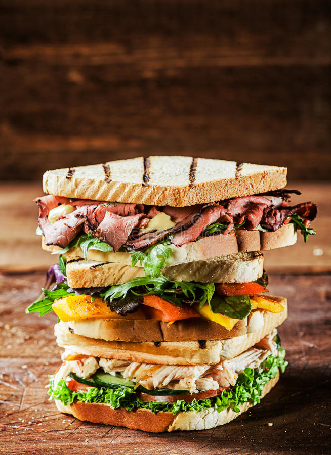 Download Choice Of Tasty Toasted Sandwiches Stock Image - Image of lettuce, more: 39391557